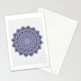 16 Fold Mandala in Blue Stationery Cards