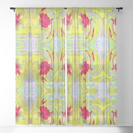 Cool Red Rose Abstract Art 096 Pattern Sheer Curtain