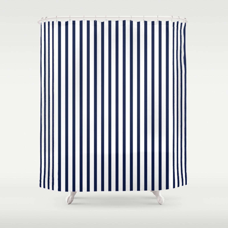 Navy Blue Breton V Stripes Minimal Shower Curtain