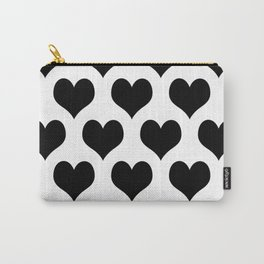 White And Black Heart Minimalist Carry-All Pouch