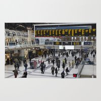 liverpool Area & Throw Rugs featuring Liverpool Street Station London by David Pyatt