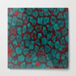Dark Red Turquoise Cheetah Print Abstract Pattern Metal Print