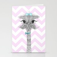 ostrich Stationery Cards featuring OsTRICH by Monika Strigel
