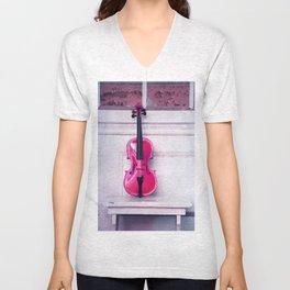 pink violin Unisex V-Neck