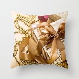 golden gift box golden silk ban New Year Christmas gift decorations golden silk ribbon Christmas Throw Pillow