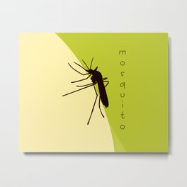 Biting mosquito print, insect silhouette illustration Metal Print