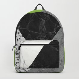 Black and White Marbles and Pantone Greenery Color Backpack