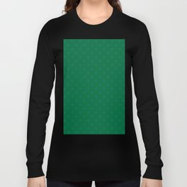 Teal Green on Cadmium Green Snowflakes Long Sleeve T-shirt