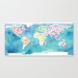 worldmap continents and oceans Canvas Print