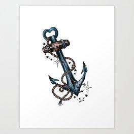 Blue anchor with stars Art Print