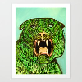 Green Tiger Fangs Art Print