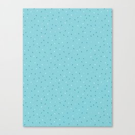 Blue and Navy Blue Ditsy Party Confetti Drops Canvas Print