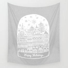 Linocut White Holidays Wall Tapestry