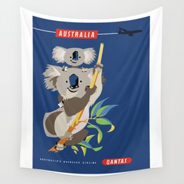 1965 AUSTRALIA Qantas Koalas Airline Advertising Poster Wall Tapestry