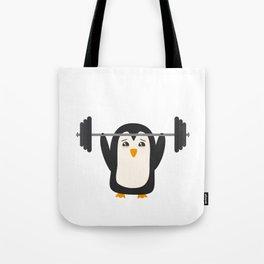 Penguin Weightlifting Tote Bag