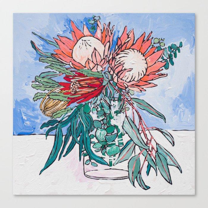 Painterly Vase of Proteas, Wattles, Banksias and Eucayptus on Blue Canvas Print
