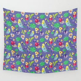 Parakeet floral Wall Tapestry