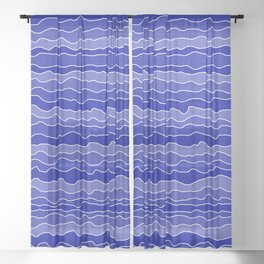 Four Shades of Blue with White Squiggly Lines Sheer Curtain
