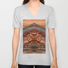 Red and Blue Tinted Terrain - 2 Unisex V-Neck
