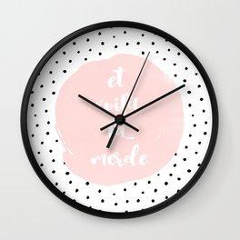 Et Voila La Merde- Typography & Polkadots Wall Clock