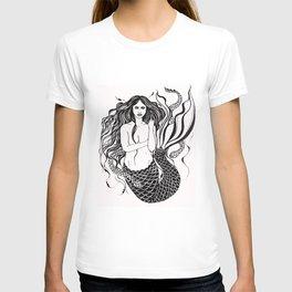 Angry Mermaid Ink Drawing T-shirt