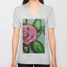 Pink Peony Floral Unisex V-Neck