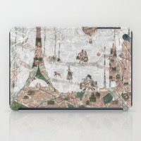 paris map iPad Cases featuring Paris Map by Paula Belle Flores