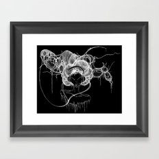 Black and White Headphones Framed Art Print