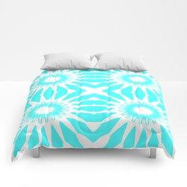 Turquoise Aqua Pinwheel Flowers Comforters
