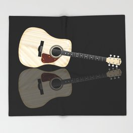 Pale Acoustic Guitar Reflection Throw Blanket