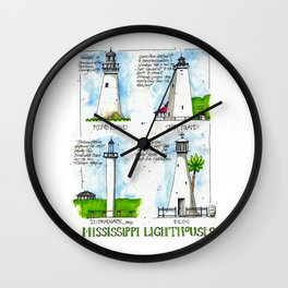 Mississippi Lighthouses Wall Clock