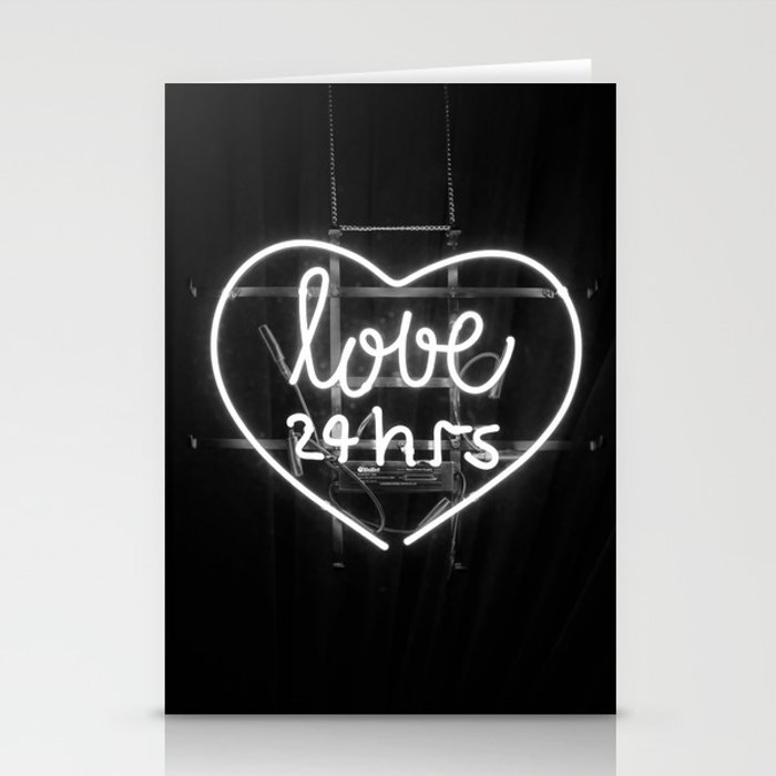Love 24 Hours (Black And White) Stationery Cards By
