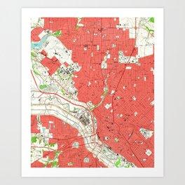 Vintage Map of Dallas Texas (1958) 2 Art Print