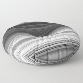 Black White Gray Thin Stripes Floor Pillow