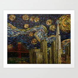 Dedication to Van Gogh: San Francisco Starry Night Art Print