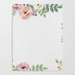Pink Floral Watercolor Design Poster