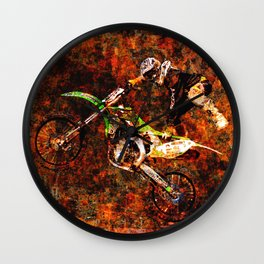 """On Fire"" Freestyle Motocross Rider Wall Clock"