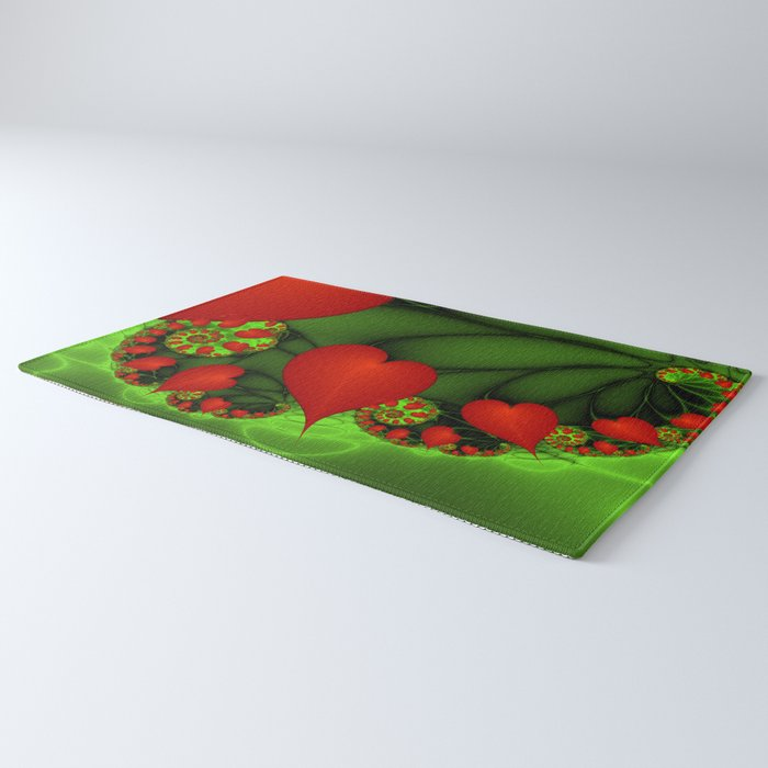 Dancing Red Hearts Fractal Art Rug