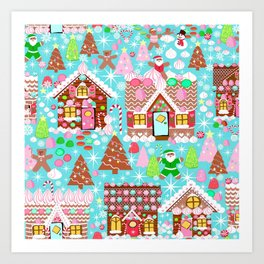 Christmas Village made of Gingerbread Art Print