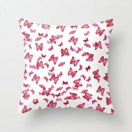 Pink Butterflies Print, Nature print Throw Pillow
