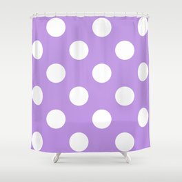 Large Polka Dots - White on Light Violet Shower Curtain