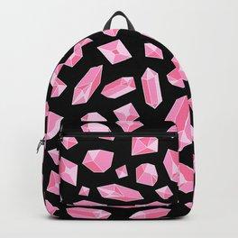 Pink Crystal on Black Pattern Backpack