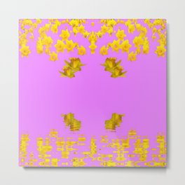 DECORATIVE MODERN PINK-DAFFODILS ART FLORAL Metal Print