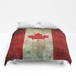 Old and Worn Distressed Vintage Flag of Canada Comforters