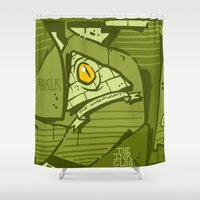 hustle Shower Curtains featuring HUSTLE by clogtwo