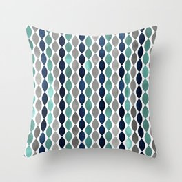 Festive, Geometric Art, Colorful Stripes, Blue, Teal, Gray Throw Pillow