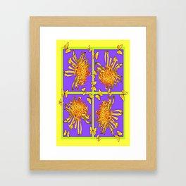 Golden Butterflies & Spider Mums Yellow-Lilac Abstract Framed Art Print