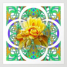 BEAUTIFUL LACY GREEN ART  & YELLOW ROSE DESIGN Art Print