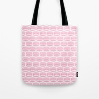 macaroon Tote Bags featuring French Macaron Pattern - Cute Food Art - Pink Macaroon by French Macaron Art Print and Decor Store