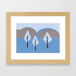 Simple blue landscape Framed Art Print